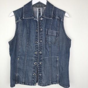CHICO'S Platinum Denim Vest Size 8